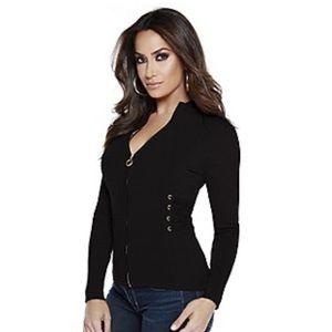 Belldini Ribbed zipper sweater NWT